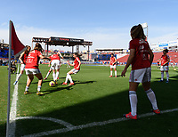 FRISCO, TX - MARCH 11: Spain's players warming up during a game between England and Spain at Toyota Stadium on March 11, 2020 in Frisco, Texas.