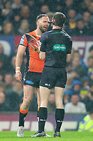 Picture by Alex Whitehead/SWpix.com - 07/10/2017 - Rugby League - Betfred Super League Grand Final - Castleford Tigers v Leeds Rhinos - Old Trafford, Manchester, England - Castleford's Luke Gale and referee James Child.