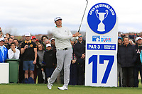 Nacho Elvira (ESP) on the 17th tee during Round 4 of the Open de Espana 2018 at Centro Nacional de Golf on Sunday 15th April 2018.<br /> Picture:  Thos Caffrey / www.golffile.ie<br /> <br /> All photo usage must carry mandatory copyright credit (&copy; Golffile | Thos Caffrey)