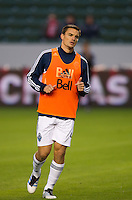 CARSON, CA - March 17, 2012: Vancouver Whitecaps FC defender Alain Rochat (4) before the Chivas USA vs Vancouver Whitecaps FC match at the Home Depot Center in Carson, California. Final score Vancouver Whitecaps 1, Chivas USA 0.