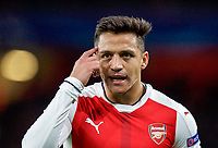Alexis Sanchez of Arsenal tells his teammates to think during the UEFA Champions League round of 16 match between Arsenal and Bayern Munich at the Emirates Stadium, London, England on 7 March 2017. Photo by Alan  Stanford / PRiME Media Images.