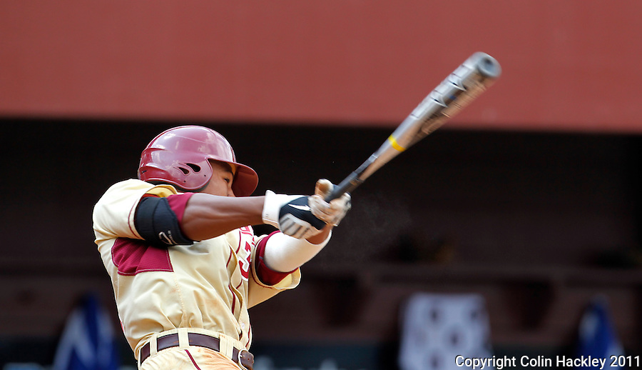 TALLAHASSEE, FL 4/24/11-FSU-DUKE BASE11 CH-Florida State's Sherman Johnson watches his double, that batted in three sail during the seventh inning against Duke Sunday at Dick Howser Stadium in Tallahassee. Johnson's hit with the bases loaded put the Noles ahead and helped them beat the Blue Devils 13-9...COLIN HACKLEY PHOTO