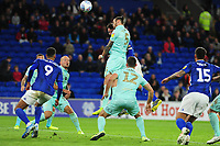 Sean Morrison of Cardiff City scores the opening goal during the Sky Bet Championship match between Cardiff City and Queens Park Rangers at the Cardiff City Stadium in Cardiff, Wales, UK. Wednesday 02 October, 2019