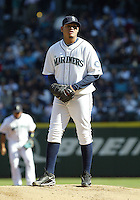 04 October 2009: Seattle Mariners starting pitcher #34 Felix Hernandez sets up on the rubber against the Texas Rangers. Seattle won 4-3 over the Texas Rangers at Safeco Field in Seattle, Washington.
