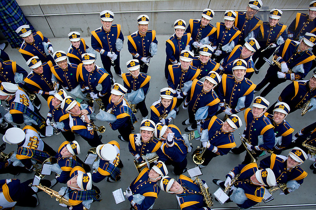 Oct. 5, 2012; Oct. 5, 2012; Members of the University of Notre Dame Marching Band line up before going on stage during the pep rally at Pritzker Pavilion for the 2012 Shamrock Classic at Millennium Park in Chicago. Photo by Barbara Johnston/University of Notre Dame..