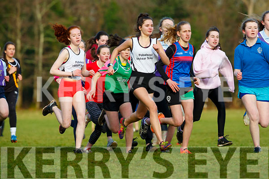 Alice O'Connor PS Inbhear Sceine powers to the front in the Intermediate Girls race at the Kerry Schools Cross Country championships in Killarney on Friday