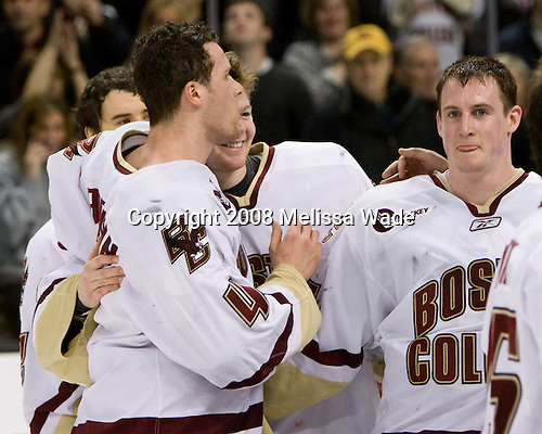 (Bertram) Mike Brennan (BC 4), John Muse (BC 1), Matt Greene (BC 14) - The Boston College Eagles defeated the Harvard University Crimson 6-5 in overtime on Monday, February 11, 2008, to win the 2008 Beanpot at the TD Banknorth Garden in Boston, Massachusetts.
