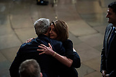 WASHINGTON, DC - DECEMBER 3 : Outgoing Speaker Paul D. Ryan and Nancy Pelosi greet former president George W. Bush after paying their respects to former president George H.W. Bush as he lies in State at the U.S. Capitol Rotunda on Capitol Hill on Monday, Dec. 03, 2018 in Washington, DC. (Photo by Jabin Botsford/Pool)