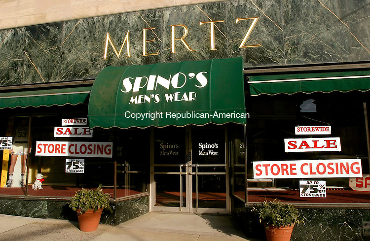 TORRINGTON, CT-- 31  JANUARY 2008--013108JS01-Spino's Men's Wear located on Main Street in Torrington will be closing their doors to make way for a brew pub inside the Mertz building location. <br /> Jim Shannon/Republican-American