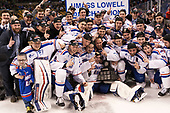 The University of Massachusetts-Lowell River Hawks defeated the Boston College Eagles 4-3 to win the 2017 Hockey East tournament at TD Garden on Saturday, March 18, 2017, in Boston, Massachusetts.