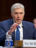 Judge Neil Gorsuch delivers his opening statement as he testifies before the United States Senate Judiciary Committee on his nomination as Associate Justice of the US Supreme Court to replace the late Justice Antonin Scalia on Capitol Hill in Washington, DC on Monday, March 20, 2017.<br /> Credit: Ron Sachs / CNP<br /> (RESTRICTION: NO New York or New Jersey Newspapers or newspapers within a 75 mile radius of New York City)