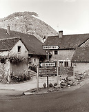 FRANCE, Baume les Messieurs, road sign at the village entrance, Jura Wine Region (B&W)