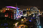 Sydney Harbour Bridge and The Rocks during Vivid Light Festival, Sydney, NSW, Australia.