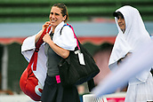 12th January 2018,  Kooyong Lawn Tennis Club, Kooyong, Melbourne, Australia; Priceline Pharmacy Kooyong Classic tennis tournament; Andrea Petkovic of Germany and Belinda Bencic of Switzerland walk off the courts as rain suspends play during the Women's Kooyong Classic final