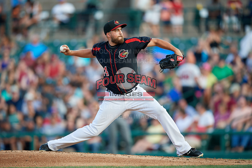 Rochester Red Wings relief pitcher D.J. Baxendale (24) delivers a pitch during a game against the Lehigh Valley IronPigs on September 1, 2018 at Frontier Field in Rochester, New York.  Lehigh Valley defeated Rochester 2-1.  (Mike Janes/Four Seam Images)