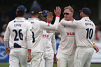 Simon Harmer of Essex celebrates taking the wicket of Harry Brook during Essex CCC vs Yorkshire CCC, Specsavers County Championship Division 1 Cricket at The Cloudfm County Ground on 7th July 2019