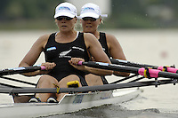 Poznan, POLAND.  2006, FISA, Rowing, World Cup,  NZL W2X, bow Georgina  EVERS-SWINDELL and Caroline EVERS-SWINDELL, moves  away from  the  start, on the Malta  Lake. Regatta Course, Poznan, Thurs. 15.05.2006. © Peter Spurrier   .[Mandatory Credit Peter Spurrier/ Intersport Images] Rowing Course:Malta Rowing Course, Poznan, POLAND