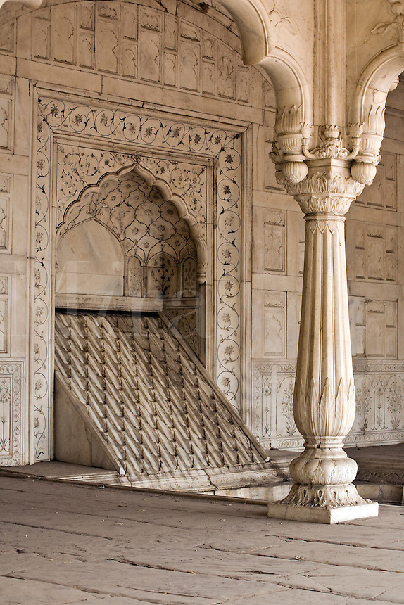 MARBLE PILLAR and FOUNTAIN inside the RED FORT or LAL QILA which was built by Emperor Shah Jahan in 1628 - OLD DELHI, INDIA