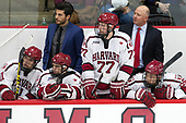 Ty Pelton-Byce (Harvard - 11), Rob Rassey (Harvard - Assistant Coach), Nathan Krusko (Harvard - 13), Lewis Zerter-Gossage (Harvard - 77), Ted Donato (Harvard - Head Coach), Devin Tringale (Harvard - 22) - The Harvard University Crimson defeated the visiting Cornell University Big Red on Saturday, November 5, 2016, at the Bright-Landry Hockey Center in Boston, Massachusetts.