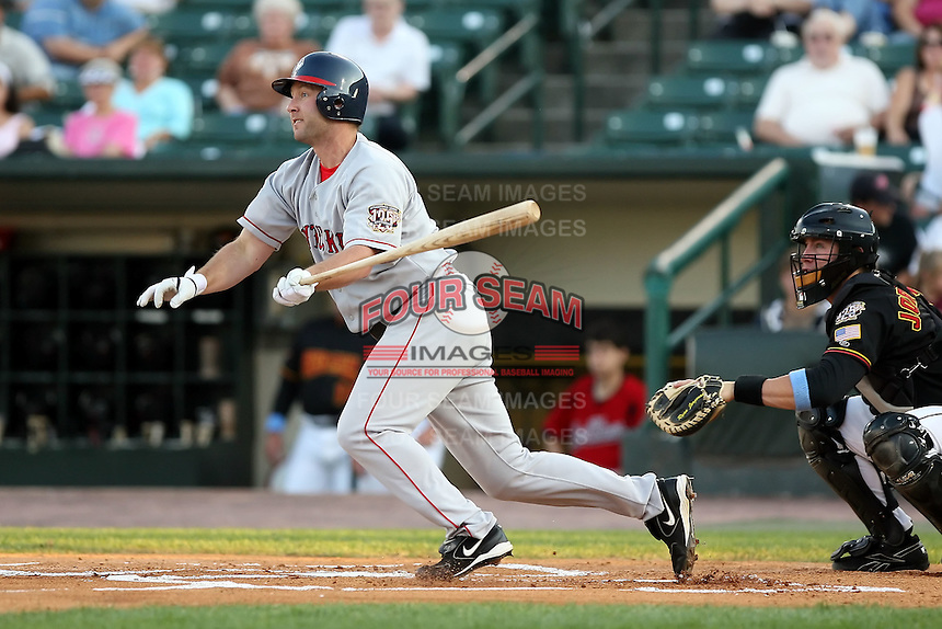 August 24 2008:  Jason Lane of the Pawtucket Red Sox, Class-AAA affiliate of the Boston Red Sox, during a game at Frontier Field in Rochester, NY.  Photo by:  Mike Janes/Four Seam Images