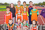 The Sneem team at the Kerry community games athlethics finals at an Riocht, Castleisland on Saturday, front row from left: Timothy Murphy, Niamh Dejong, Sadie Knightly and Lillian O'Shea..Middle row from left: Adam Gul, Gemma O'Brien, Siobhan Murphy and Connor O'Brien..Back Row: Catriona Murphy, Mary Thresa Burns, Stephenie Burns and Ben O'Shea.