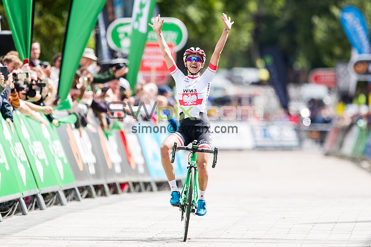 Picture by Alex Whitehead/SWpix.com - 07/06/2017 - Cycling - OVO Energy Women's Tour - Stage 1: Daventry to Kettering - WM3 Pro Cycling Team's Katarzyna Niewiadoma celebrates winning Stage 3 in Kettering.