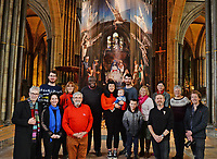 BNPS.co.uk (01202 558833)<br /> Pic: ZacharyCulpin/BNPS<br /> <br /> Pictured:  The cast for the nativity - One of the UK's most historic cathedrals today unveiled a 40ft Renaissance-style photographic tableau as its nativity - with its very own clergy, volunteers and staff starring as figures from the Christian scene.<br /> <br /> Salisbury Cathedral's spectacular nativity features its stonemason as Joseph, a bookings agent as Mary, a retired postman as a shepherd, a Canon and guides as Wise Men - and the son of an ex-England rugby player as baby Jesus.<br /> <br /> The Wiltshire cathedral wanted to put a modern twist on the traditional Christmas scene and cast people as Nativity characters before holding a series of individual and group photoshoots.