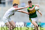 Sean O'Shea Kerry in action against David Marnell Kildare in the All Ireland Minor Football Semi Final at Croke Park on Sunday.