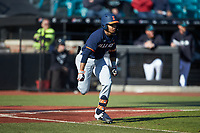 Taylor Jackson (15) of the Illinois Fighting Illini hustles down the first base line against the Coastal Carolina Chanticleers at Springs Brooks Stadium on February 22, 2020 in Conway, South Carolina. The Fighting Illini defeated the Chanticleers 5-2. (Brian Westerholt/Four Seam Images)