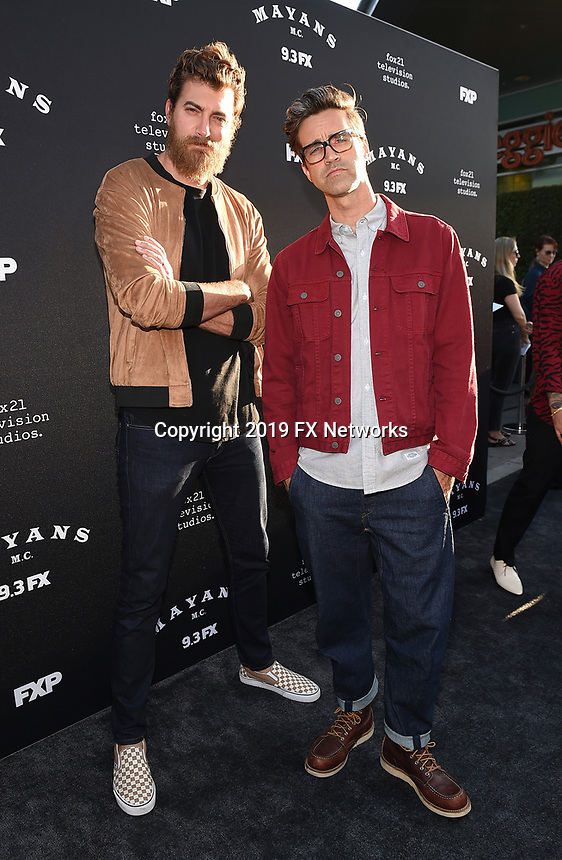 """LOS ANGELES - AUGUST 27: Rhett McLaughlin and Link Neal attend the season two red carpet premiere of FX's """"Mayans M.C"""" at the ArcLight Dome on August 27, 2019 in Los Angeles, California. (Photo by Frank Micelotta/FX/PictureGroup)"""