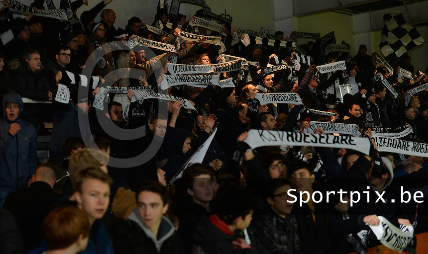 20161217 - ROESELARE , BELGIUM : Roeselare's fans / supporters pictured during the Proximus League match of D1B between Roeselare and Cercle Brugge, in Roeselare, on Saturday 17 December 2016, on the day 20 of the Belgian soccer championship, division 1B. . SPORTPIX.BE | DAVID CATRY