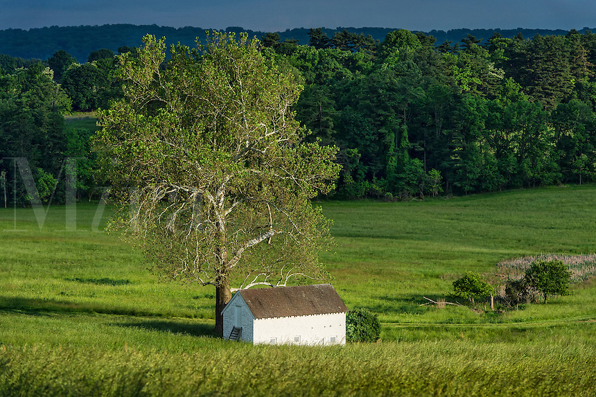 Rural spring house in lush pastoral landscape, Chester County, Pennsylvania, USA
