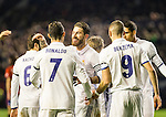 Real Madrid's forward Cristiano Ronaldo and defender defender Sergio Ramos celebrates after scoring a goal during the match of La Liga between Club Atletico Osasuna and Real Madrid  at El Sadar Stadium in Pamplona, Spain. February 11, 2017. (ALTERPHOTOS/Rodrigo Jimenez) <br />  during the match of La Liga between Club Atletico Osasuna and Real Madrid  at El Sadar Stadium in Pamplona, Spain. February 11, 2017. (ALTERPHOTOS/Rodrigo Jimenez)