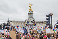 London, England on 15 March 2019: the protesters students move in front of Buckingham palace during the youth climate strike in London. The protest against climate change and urge the government to take action.The global movement has been inspired by teenage activist Greta Thunberg, who has been skipping school every Friday since August to protest outside the Swedish parliament. Photo Adamo Di Loreto/BunaVista*photo