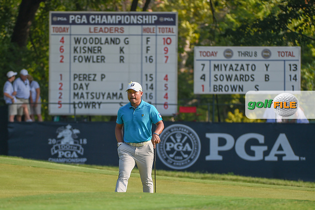 Yusaku Miyazato (JAP) looks over his putt on 9 during 2nd round of the 100th PGA Championship at Bellerive Country Club, St. Louis, Missouri. 8/11/2018.<br /> Picture: Golffile | Ken Murray<br /> <br /> All photo usage must carry mandatory copyright credit (© Golffile | Ken Murray)