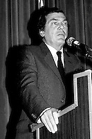 April 25 1988 File Photo - <br /> Egdar Bronfman (Senior) ,Canadian born billionaire and longtime World Jewish Congress president speak at the Canadian Club of Montreal tribune.