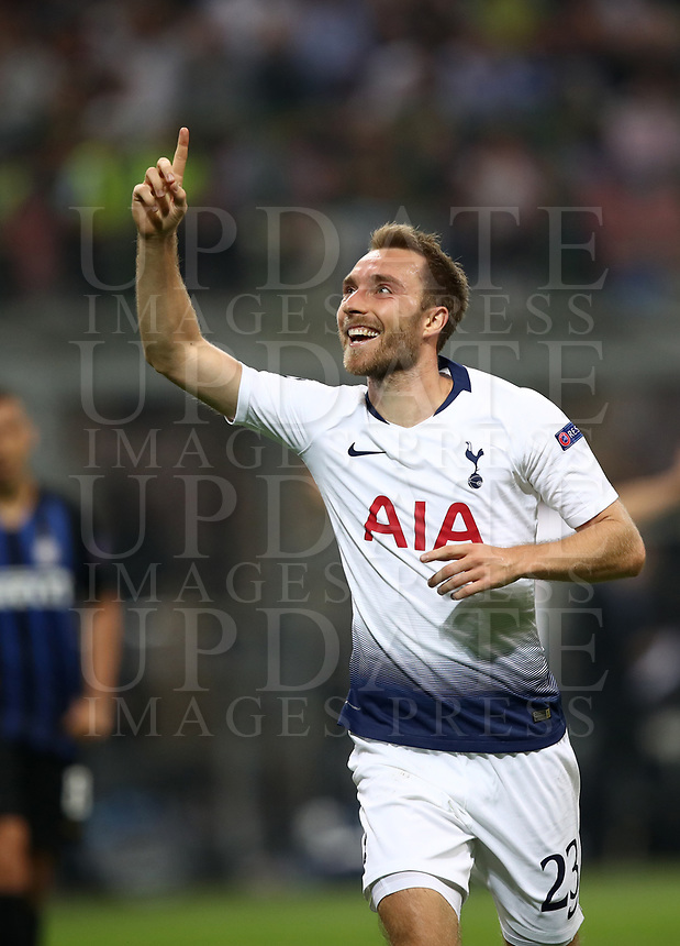 Football Soccer: UEFA Champions League FC Internazionale Milano vs Tottenham Hotspur FC, Giuseppe Meazza stadium, September 15, 2018.<br /> Tottenham's Christian Eriksen celebrates after scoring during the Uefa Champions League football match between Internazionale Milano and Tottenham Hotspur at Giuseppe Meazza (San Siro) stadium, September 18, 2018.<br /> UPDATE IMAGES PRESS/Isabella Bonotto
