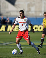 Maryland defender Omar Gonzalez (4) dribbles the ball.  Maryland Terrapins defeated North Carolina Tar Heels 1-0 to win the NCAA Men's College Cup at Pizza Hut Park in Frisco, TX on December 14, 2008.  Photo by Wendy Larsen/isiphotos.com