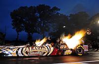 Jun. 1, 2012; Englishtown, NJ, USA: NHRA top fuel dragster driver Khalid Albalooshi during qualifying for the Supernationals at Raceway Park. Mandatory Credit: Mark J. Rebilas-