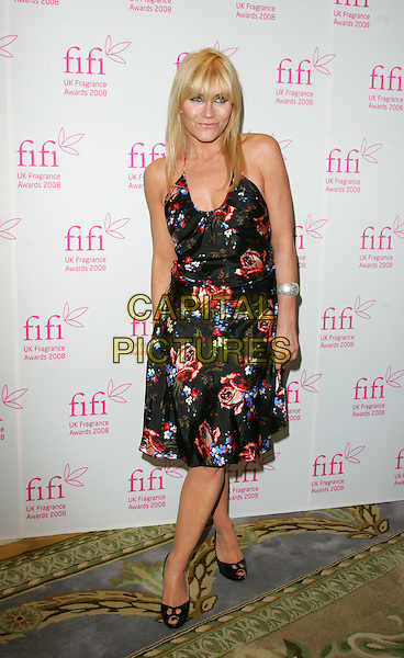 MICHELLE COLLINS.Attending the FIFI UK Fragrance Awards 2008 at the Dorchester Hotel, Park Lane, London, England, April 23rd 2008.full length black red floral print patterned dress shoes roses peep toe .CAP/ROS.©Steve Ross/Capital Pictures