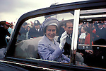Queens Silver  Jubilee 1977 The Queen and Prince Philip drive through crowds in open toped Rolls Royce South London UK