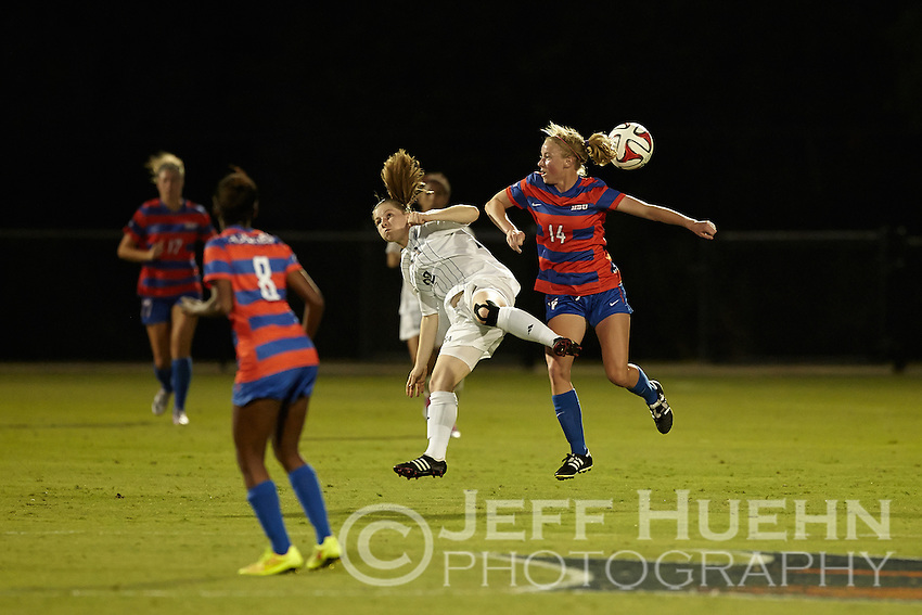 SAN ANTONIO, TX - AUGUST 22, 2014: The University of Texas at San Antonio Roadrunners Women's Soccer team defeats the Houston Baptist University Huskies 1-0 at the UTSA Park West Athletics Complex. (Photo by Jeff Huehn)