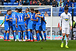 14.04.2019, PreZero Dual Arena, Sinsheim, GER, 1. FBL, TSG 1899 Hoffenheim vs. Hertha BSC Berlin, <br /> <br /> DFL REGULATIONS PROHIBIT ANY USE OF PHOTOGRAPHS AS IMAGE SEQUENCES AND/OR QUASI-VIDEO.<br /> <br /> im Bild: Jubel ueber das Tor zum 1:0 durch Nadiem Amiri (TSG Hoffenheim #18)<br /> <br /> Foto © nordphoto / Fabisch
