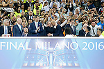 Real Madrid's President Florentino Perez and the coach Zinedine Zidane celebrate the victory in the UEFA Champions League 2015/2016 Final match in presence of King Felipe VI of Spain (l) and President of Spain Mariano Rajoy .May 28,2016. (ALTERPHOTOS/Acero)