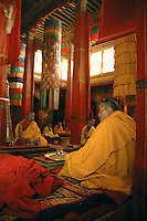 As we entered the dark inner sanctum of the main assembly hall at Gongkar Chöde Monastery, the familiar smell of yak butter candles and the melodic sound of monks at prayer greeted us. Several generations of monks sat cross-legged on padded benches appearing only mildly distracted by the flashes of a dozen camera-clicking onlookers.