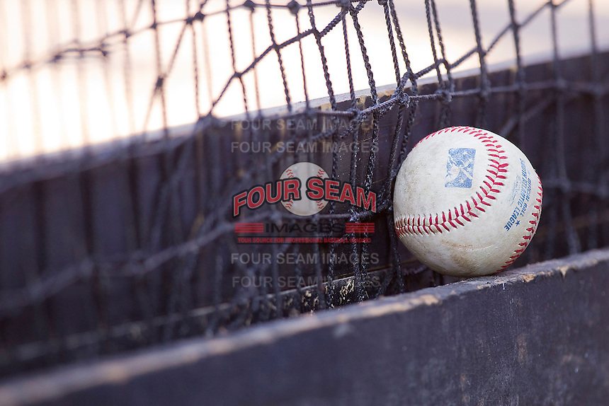 A South Atlantic League baseball in the Kannapolis Intimidators dugout during the game against the Lakewood BlueClaws at Fieldcrest Cannon Stadium on July 17, 2011 in Kannapolis, North Carolina.  The BlueClaws defeated the Intimidators 4-3.   (Brian Westerholt / Four Seam Images)