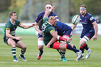 Vili Hakalo of Nottingham Rugby is tackled during the Greene King IPA Championship match between London Scottish Football Club and Nottingham Rugby at Richmond Athletic Ground, Richmond, United Kingdom on 15 April 2017. Photo by David Horn.