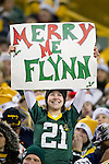 Green Bay Packers fan holds up a sign during a week 16 NFL football game against the Chicago Bears on December 25, 2011 in Green Bay, Wisconsin. The Packers won 35-21. (AP Photo/David Stluka)