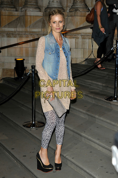 LAURA BAILEY .The 30 Days of Fashion And Beauty Gala Party, at the Natural History Museum, London, England..September 21st, 2009.full length jean denim waistcoat vest beige leopard print leggings gold top black platform shoes clutch bag.CAP/PL.©Phil Loftus/Capital Pictures.