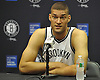 Brooklyn Nets No. 11 Brook Lopez fields questions during Media Day held at the team's practice center in East Rutherford, New Jersey on Monday, September 28, 2015.<br /> <br /> James Escher